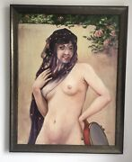 Large Antique Oil On Canvas Of A Lady With A Tambourine Monogramed En 1923