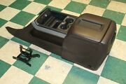 14-15 Silverado Brown Leather Front Floor Console W/o Entertainment System Oem