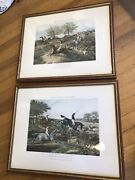 Antique Fores's Steeple Chase Colorized Equestrian Framed Prints Set Of 2 1848