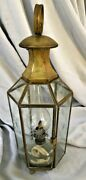 Vintage Lantern Oil Lamp Brass Color Metal And Etched Glass 19.5 Tall