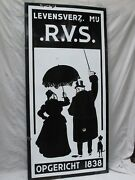 Antique Large Black And White Porcelain Sign Couple Walking Their Dog
