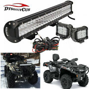 Fit Can-am Outlander 400 500 570 20and039and039 Led Light Bar Mount+2x Light Pods+wire Kit