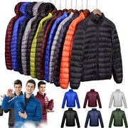 Menand039s Duck Down Goose Jacket Ultralight Stand Coat Winter Hooded Puffer Packable