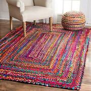 Rug Braided Area Cotton White Base Floor Natural Recycled Mat Rugs Various Size