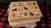 Home School Kids Early Learning Wooden Puzzles Farm Shapes Numbers Vintage Old