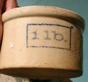 1920and039s-and03930and039s Small Butter Crock With Blue 1 Lb Hairline Left Side