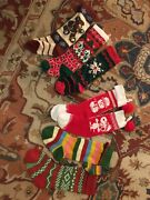 Huge Lot 9 Christmas Stockings Wool Mickey Mouse Snoopy