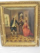 Antique Comic Aristocrat Painting Couple Dancing W/ On Looker Oil On Panel