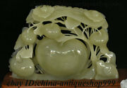 14 China 100 Natural Afghanistan Jade Stone Carving Fengshui Fruit Tree Statue