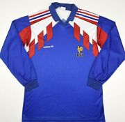 1990-1992 France Player Issue Adidas Ventex Home Football Shirt Size S