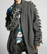 Dsquared2 Oversize Knit Buckle Cardigan Sweater Grey Leather Size Xs Sold Out 7k