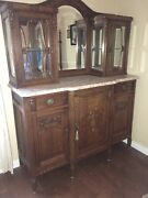 Antique Belgium Hand Carved Marble Top Buffet And Hutch Old But Good Condition