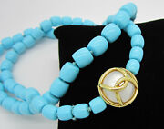 Estate Rare Signed Verdura 18k Yellow Gold Caged Pearl Turquoise Bead Necklace