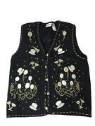 Bobbie Brooks Med Sweater Vest New Years Theme Hats Balloons Champagne Black