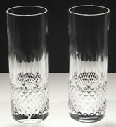2 Rare Waterford Crystal Colleen Tom Collins Tumbler Glasses 7 1/8