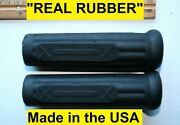 Henderson Deluxe Motorcycle Handle Bar Grip Set Real Rubber Antique Repro