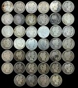 Barber Quarters Roll 90 Silver 10 Face Value 40 Circulated Mixed- Full Dates.