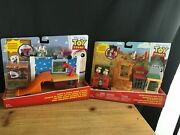 Disney Mattel Toy Story Lot Of 2 Minis Playsets Western Adventure+andys Room New