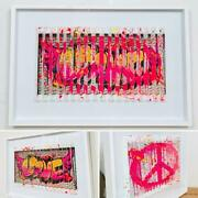 E.m. Zax- One-of-a-kind 3d Polymorph Mixed Media On Paper Love And Peace