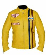 New Menand039s Steve Mcqueen Yellow Racing Genuine Leather Jacket - Free Shipping
