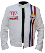 New Menand039s Steve Mcqueen White Racing Genuine Leather Jacket - Free Shipping