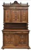 Antique Buffet Sideboard French Henri Ii Style Carved Walnut 1800and039s Handsome