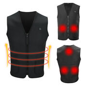 Electric Heated Vest Jacket Usb Warm Up Heating Pad Winter Body Strong Warmer Us