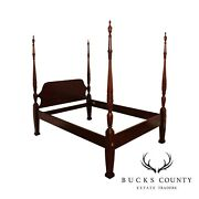Link Taylor Solid Mahogany Queen Size Rice Carved Poster Bed
