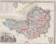 Antique Map Somertsetshire By Thomas Moule 1840 257 X 201 Cm.andnbsp