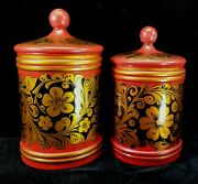 Vintage Set Of 2 Painted Wood Ussr Russian Kitchen Canisters Red Gold Black Fine