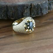 Menand039s Vintage 14k Yg Gold And Black Star Sapphire Cabochon Ring Size 8.75