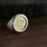 1852 2 1/2 Gold Coin Set In Menand039s 14k Yg Ring Size 9.5