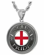Menand039s 925 Sterling Silver English Pride Pendant Necklace With Flag 20 To 26