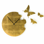 Butterfly Tiled Gold Leaf Effect Diamantini And Domeniconi Stylish Wall Clock