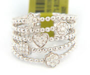 New 0.40ctw Diamond Five Row Beaded Wide Band Ring In 14kt