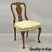 Antique 19th C English Queen Anne Burr Walnut Splat Back Dining Side Chair