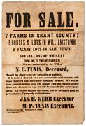 Jas H Kerr / Broadside For Sale 7 Farms In Grant County 5 Houses And Lots 1865