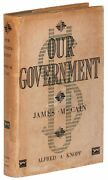 James M Cain / Our Government Signed 1st Edition 1930
