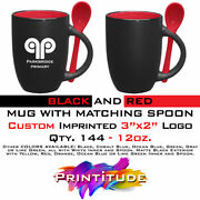 Qty. 144 Matte Black And Red Promotional Cup Mug W/ Spoon. Custom Imprinted Logo