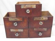 Antique Apothecary Pharmacy 5 Large Drawers With No Labels