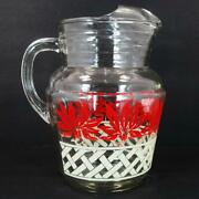 Anchor Hocking 96oz Pitcher W/ Ice Lip And A Lattice And Red Flower Decal