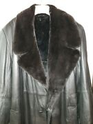Mens/ladyand039s Sheared Removeable Beaver Collar Fur Lined Interior Leather Coat