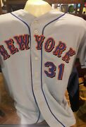 Hof Mike Piazza Ny Mets Game Used Away Jersey Mcgraw And Murphy Patch Steiner Coa