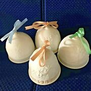 Vtg. Lladro Bells Handpainted, Ceramic Bisque, 4 Christmas Collectibles