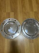 Antique Mexican Pewter Silver Decor Plates Set Of 2