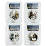 Niue Set Of 4 Coins Star Wars Darth Vader Pl-70 Pcgs Silver Coin 2011