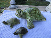 Huge Rare Brush Mccoy Turtle Fountain And 2 Brush Turtles Vintage Garden Ornaments