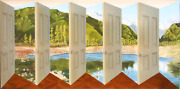 Patrick Hughes Pleasure Island Oil On Board 3-d Construction Signed And Dated