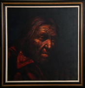 Jorge Braun Andres Tarallo Native American Portrait With Red Shirt Oil On Ca