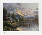 Thomas Kinkade, Lakeside Hideaway, Offset Lithograph, Signed And Numbered In Mar